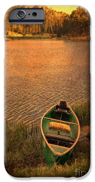 Canoe iPhone Cases - Canoe on Lake iPhone Case by Jill Battaglia