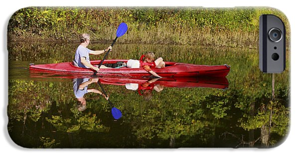 Canoe iPhone Cases - Canoe Ride and Reflections iPhone Case by Deborah Benoit