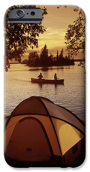 Canoeing At Otter Falls, Whiteshell iPhone Case by Dave Reede