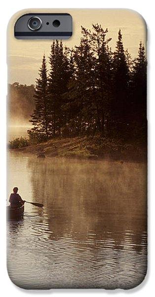 Canoeing On Winnipeg River, Pinawa iPhone Case by Dave Reede