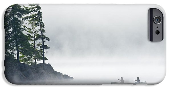 Canoe iPhone Cases - Canoeing Through Fog On Lake Of Two iPhone Case by Mike Grandmailson