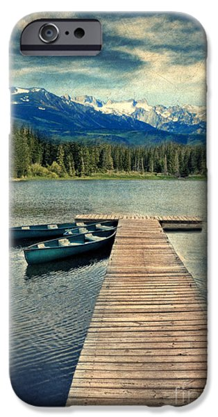 Canoes at Dock on Mountain Lake iPhone Case by Jill Battaglia