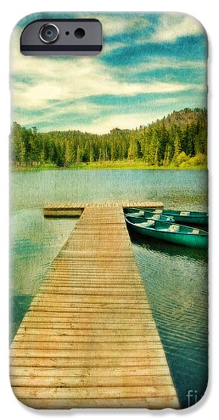Canoe iPhone Cases - Canoes at the End of the Dock iPhone Case by Jill Battaglia