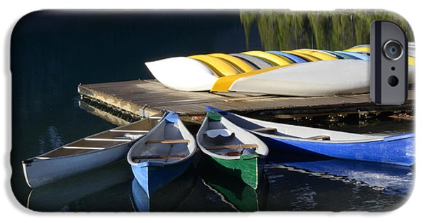 Canoe iPhone Cases - Canoes Morraine lake 2 iPhone Case by Bob Christopher