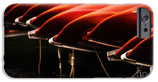 Red Canoe iPhone Cases - Canoes Of Red iPhone Case by Bob Christopher