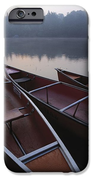 Canoe iPhone Cases - Canoes On Still Water iPhone Case by Natural Selection John Reddy