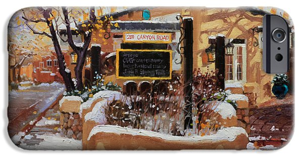 Canyons Paintings iPhone Cases - Canyon road Winter iPhone Case by Gary Kim