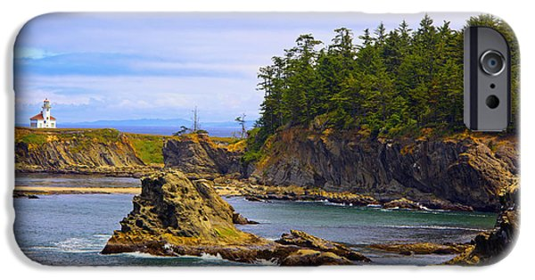 Gregory House iPhone Cases - Cape Arago Lighthouse At Shore Acres iPhone Case by Craig Tuttle