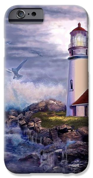 Cape Blanco Oregon Lighthouse on Rocky Shores iPhone Case by Gina Femrite