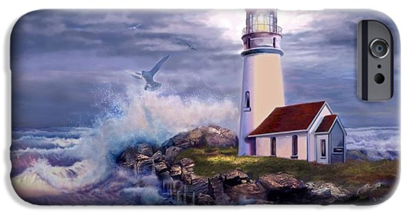 Lighthouse iPhone Cases - Cape Blanco Oregon Lighthouse on Rocky Shores iPhone Case by Gina Femrite