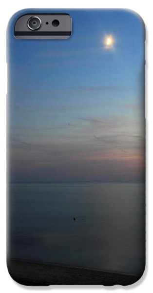 Cape Cod Bay Dusk Moon iPhone Case by John Burk