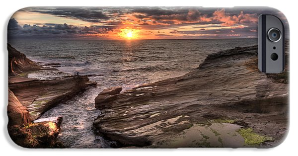 Ocean Pyrography iPhone Cases - Cape Kiwanda View iPhone Case by Joel Lavold