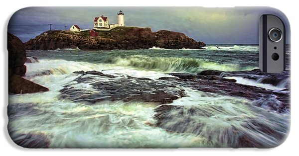 Cape Neddick Lighthouse iPhone Cases - Cape Neddick Storm iPhone Case by Rick Berk