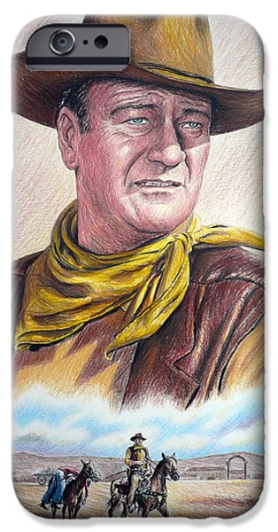 John Wayne Drawings iPhone Cases - Captured color version 2 iPhone Case by Andrew Read