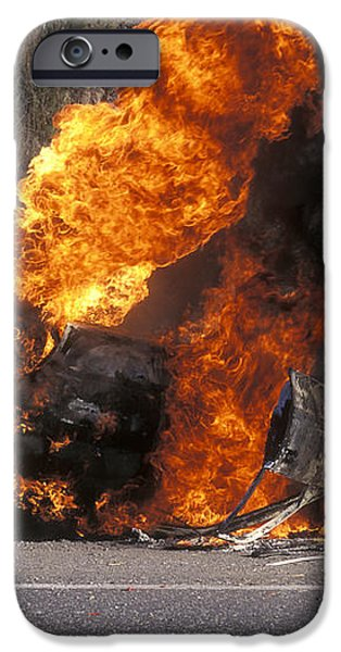 Car In Flames iPhone Case by Kaj R. Svensson