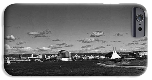 Monotone iPhone Cases - Cardiff Bay Panorama Mono iPhone Case by Steve Purnell