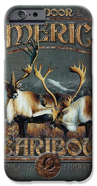 Pine Paintings iPhone Cases - Caribou iPhone Case by JQ Licensing