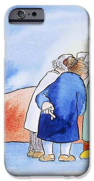 Caricature Of A Hospital Consultation iPhone Case by David Gifford