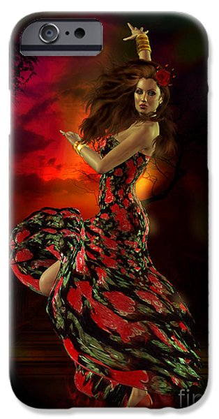 Fire Digital Art iPhone Cases - Carmen iPhone Case by Shanina Conway