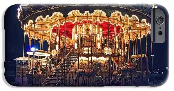 Carousel iPhone Cases - Carousel in Paris iPhone Case by Elena Elisseeva