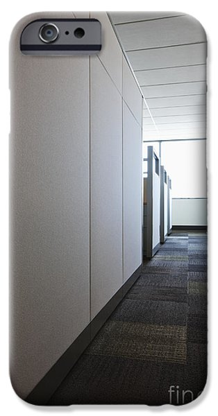 Cubicle iPhone Cases - Carpeted Hall with Office Cubicles iPhone Case by Jetta Productions, Inc