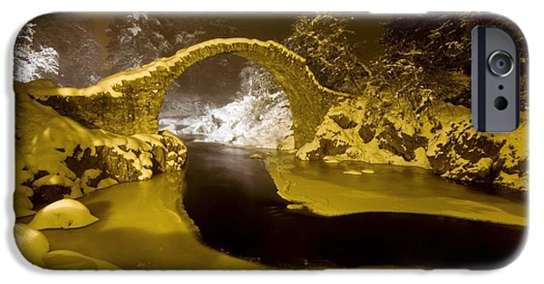 Snowy Night iPhone Cases - Carr Bridge At Night In Winter iPhone Case by Duncan Shaw