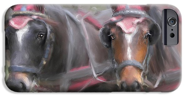 Connie Moses iPhone Cases - Carriage Horses Pleasure Pair iPhone Case by Connie Moses