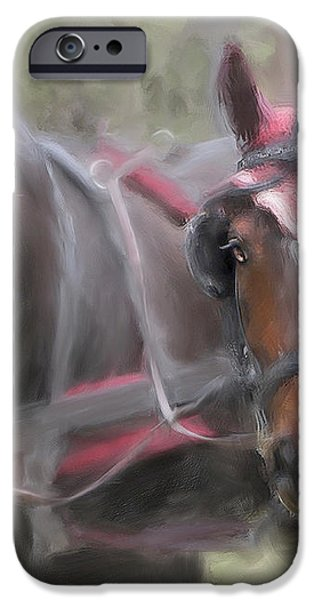 Carriage Horses Pleasure Pair iPhone Case by Connie Moses