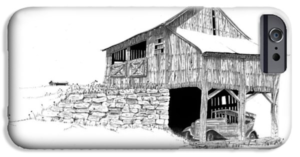 Old Barn Drawing iPhone Cases - Carriage House iPhone Case by Donald Black