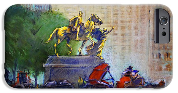 Building Pastels iPhone Cases - Carriage Rides in NYC iPhone Case by Ylli Haruni