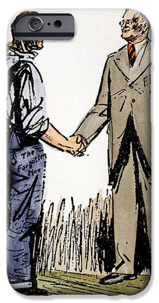 President iPhone Cases - Cartoon: Fdr & Workingmen iPhone Case by Granger