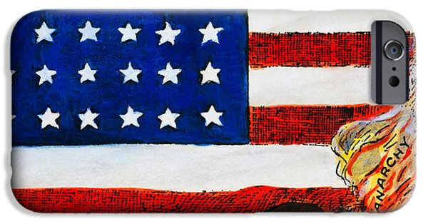 Old Glory iPhone Cases - Cartoon: Red Scare, 1919 iPhone Case by Granger