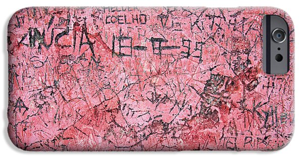 Vandalism iPhone Cases - Carvings on Wall iPhone Case by Carlos Caetano