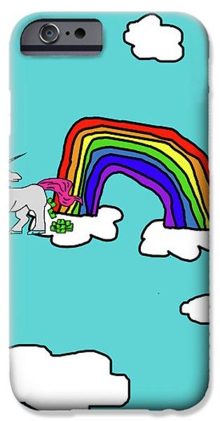 Puppy Digital Art iPhone Cases - Cash Crap Unicorn iPhone Case by Jera Sky