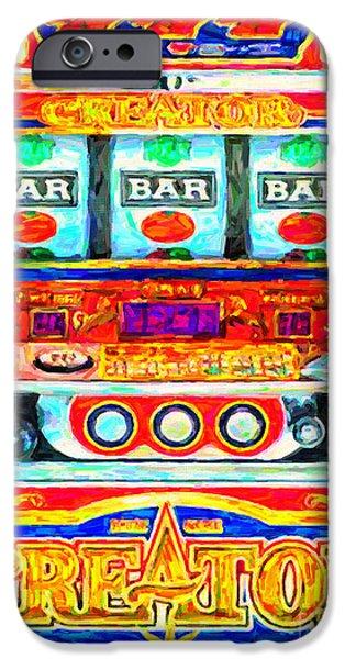 Casino Slot Machine . One Arm Bandit . Triple Bar Bonus Jack Pot iPhone Case by Wingsdomain Art and Photography