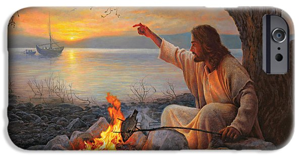 Net Paintings iPhone Cases - Cast Your Nets on the Right Side iPhone Case by Greg Olsen