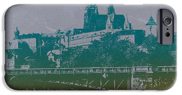 Old Digital Art iPhone Cases - Castillo De Praga iPhone Case by Naxart Studio