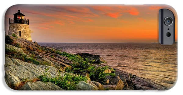 New England Lighthouse iPhone Cases - Castle Hill Lighthouse - Newport Rhode Island iPhone Case by Thomas Schoeller