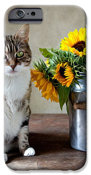 Cat and Sunflowers iPhone Case by Nailia Schwarz