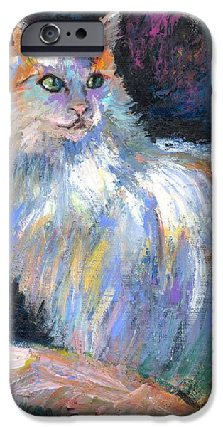 Contemporary Art Drawings iPhone Cases - Cat In A Sun Painting  iPhone Case by Svetlana Novikova
