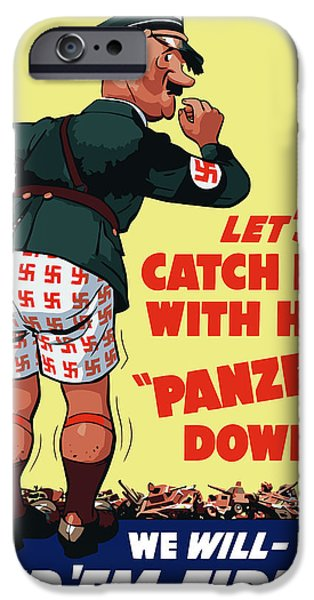 Ww2 iPhone Cases - Catch Him With His Panzers Down iPhone Case by War Is Hell Store