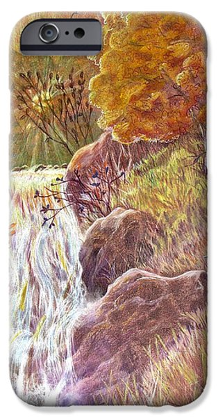 Fall Scenes Drawings iPhone Cases - Catching The Last Light iPhone Case by Marilyn Smith