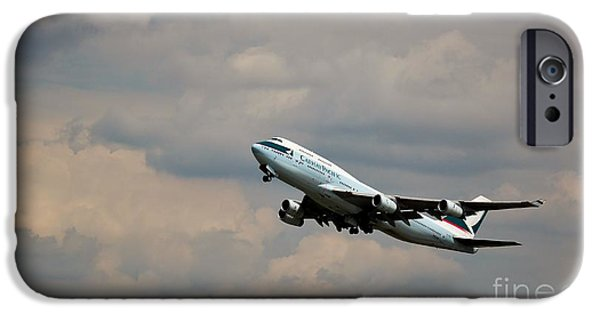 Retraction iPhone Cases - Cathay Pacific B-747-400 iPhone Case by Rene Triay Photography