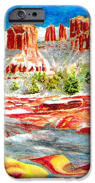 Oak Creek Paintings iPhone Cases - Cathedral Rock Crossing iPhone Case by Eric Samuelson