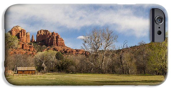 Cathedral Rock iPhone Cases - Cathedral Rock from the Park iPhone Case by Darcy Michaelchuk