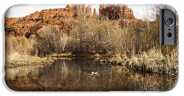 Oak Creek iPhone Cases - Cathedral Rock Reflections Landscape iPhone Case by Darcy Michaelchuk