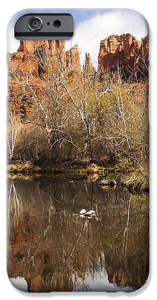 Cathedral Rock Reflections Landscape iPhone Case by Darcy Michaelchuk