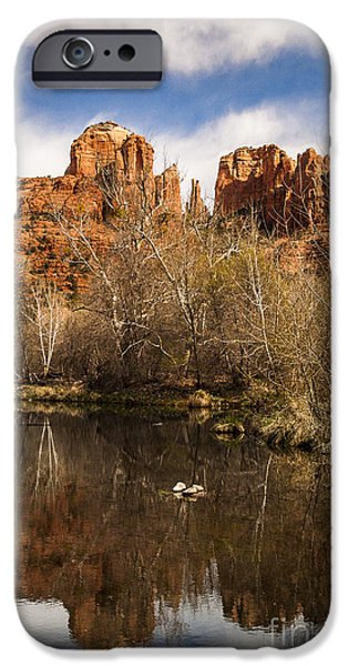 Oak Creek iPhone Cases - Cathedral Rock Reflections Portrait 1 iPhone Case by Darcy Michaelchuk