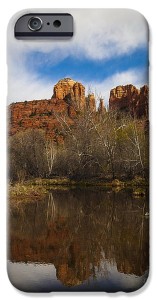 Oak Creek iPhone Cases - Cathedral Rock Reflections Portrait 2 iPhone Case by Darcy Michaelchuk