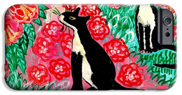 Sue Burgess Ceramics iPhone Cases - Cats and Roses iPhone Case by Sushila Burgess